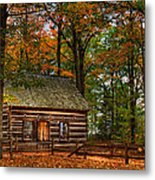 Log Cabin In Autumn Color Metal Print