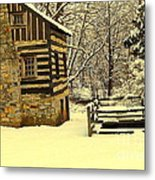 Log Cabin In The Snow Metal Print