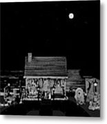 Log Cabin Scene Near The Ocean At Midnight In Black And White Metal Print
