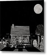 Log Cabin Ocean View With The Old Vintage Classic 1938 Mercedes Benz 770k Pullman Convertible In B/w Metal Print
