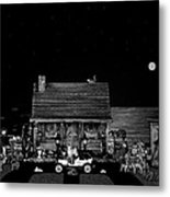 Log Cabin Scene In Black And White With Old Time Classic 1908 Model T Ford Metal Print by Leslie Crotty