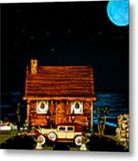 Log Cabin Scene With Old Time Vintage Classic 1930 Packard Labaron In Color Metal Print