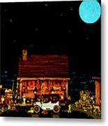 Log Cabin Scene  With The Old Vintage Classic 1913 Buick Model 25 In Color Metal Print