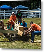 Log Cutting Competition Metal Print