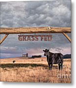 Log Entrance To Grass Fed Angus Beef Ranch Metal Print by Susan McKenzie