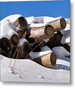 Log Pile In A Snow Drift In Winter Metal Print