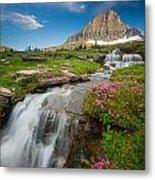 Logan Pass Cascades Metal Print