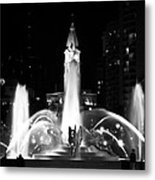 Logan Square Fountain At Night In Black And White Metal Print