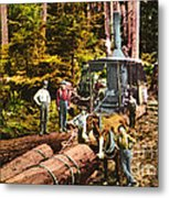 Logging With Steam Donkey Engine Near Olympia Washington Circa 1900 Metal Print