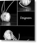Onion Kitchen Art - L'oignon - Black And White Metal Print