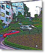 Lombard Street In San Francisco-california  Metal Print