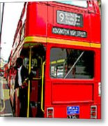 London Bus Heading To Kensington Metal Print