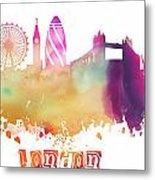 London England Skyline Pastel Metal Print