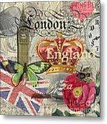 London England Vintage Travel Collage  Metal Print