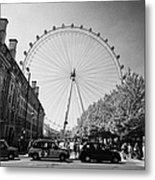 London Eye And County Hall Viewed From The Southbank London England Uk Metal Print
