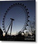 London Eye And New Moon Metal Print