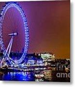 London Eye Night Glow Metal Print