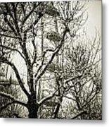 London Eye Through Snowy Trees Metal Print
