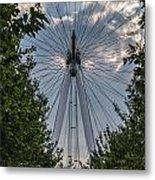 London Eye Vertical Panorama Metal Print