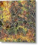 London Map Brown Metal Print