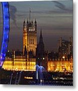 London Night Skyline Cityscape Metal Print