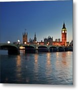 London, Palace Of Westminster At Sunset Metal Print