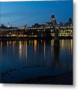 London Skyline Reflecting In The Thames River At Night Metal Print