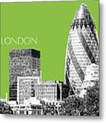 London Skyline The Gherkin Building - Olive Metal Print