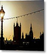 London South Bank Silhouette Metal Print