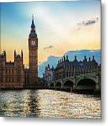 London Uk Big Ben The Palace Of Westminster At Sunset Metal Print