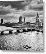 London Uk Big Ben The Palace Of Westminster In Black And White Metal Print