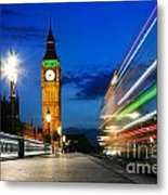 London Uk Red Bus In Motion And Big Ben At Night Metal Print