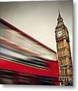 London Uk Red Bus In Motion And Big Ben Metal Print