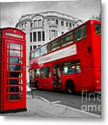 London Uk Red Phone Booth And Red Bus In Motion Metal Print