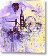 London Watercolor Skyline Metal Print