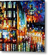 Londons Lights - Palette Knife Oil Painting On Canvas By Leonid Afremov Metal Print