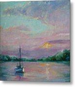 Lone Boat At Sunset Metal Print