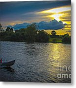 Lone Boat On The River Photo Metal Print