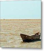 Lone Canoe Metal Print