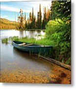 Lone Canoe On Shores Of Upper Payette Metal Print