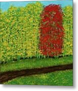 Lone Maple Among The Ashes Metal Print