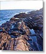 Lone Person On Rocks At Pemaquid Point Metal Print