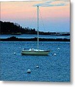 Lone Sailboat At York Maine Metal Print