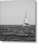 lone yacht off Rathlin Island against grey sky with sea County Antrim Northern Ireland Metal Print