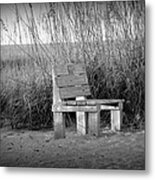 Lonely Beach Bench Metal Print