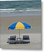 Lonely Beach Chairs Metal Print
