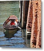 Lonely Boat In Venice Metal Print