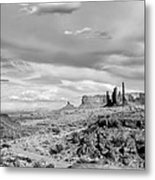 Lonely Cloud And Totem Pole - Monument Valley Tribal Park Arizona Metal Print