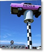 Lonely Diner With Pink Cadillac Metal Print
