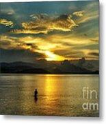 Lonely Fisherman Metal Print
